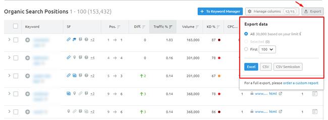 Export ranking data in Semrush.