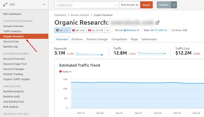 Viewing Organic Research reporting in Semrush.