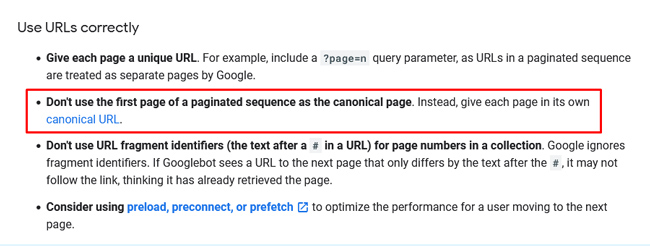 ecommerce best practices for pagination from Google