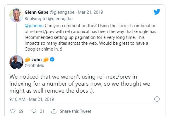 Google's John Mueller explaining rel next/prev isn't supported anymore.
