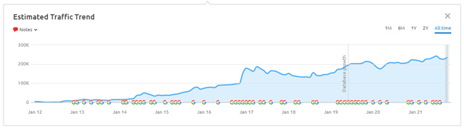 Strong visibility growth over time despite many paginated urls indexed.