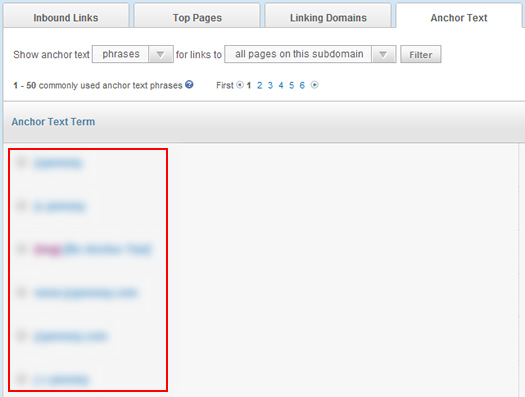 Viewing anchor text for inbound links in Open Site Explorer