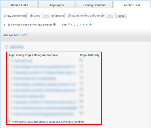 Viewing linking pages in Open Site Explorer
