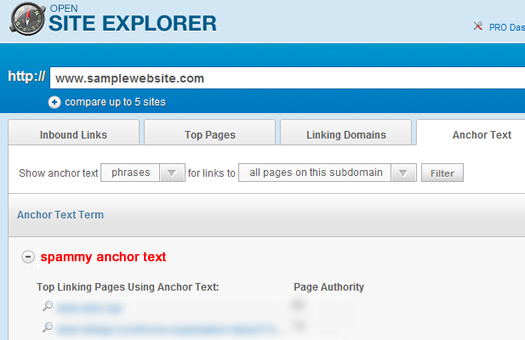 How To Find Spammy, Paid Text Links Open Site Explorer