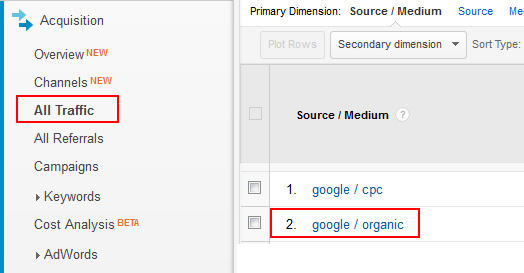 Accessing Google Organic Traffic in Google Analytics