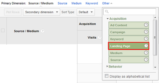 Primary Dimension to Landing Page in Google Analytics