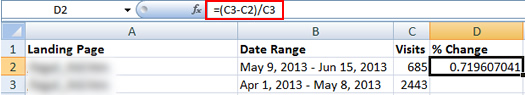 Creating a Formula to Calculate Percent Change in Excel