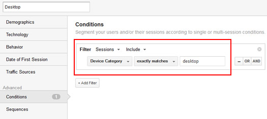 Creating a Desktop Segment in Google Analytics