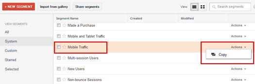 Copying a System Segment in Google Analytics