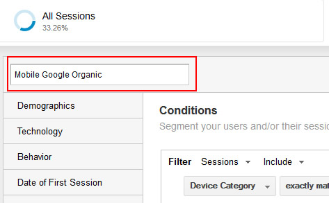 Name a Custom Segment in Google Analytics