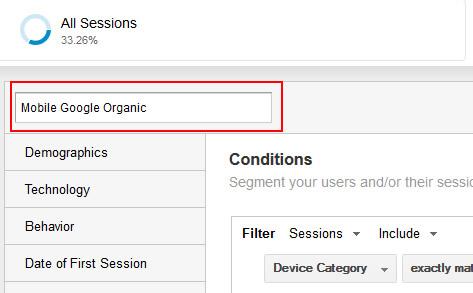 Name a Custom Segment in Google Analytics