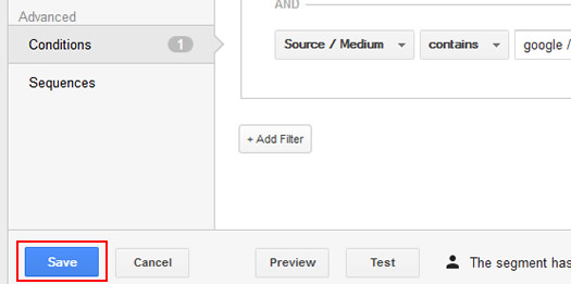 Save a Custom Segment in Google Analytics