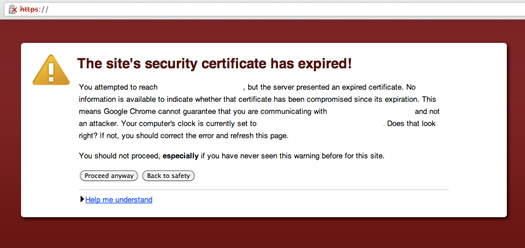 Expired SSL Certificate Warning in Chrome