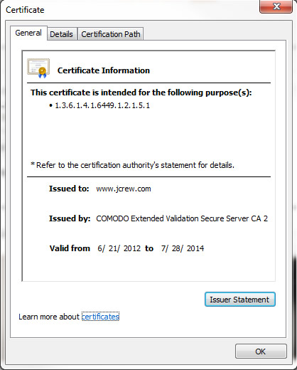 Example of an SSL Certificate for JCrew