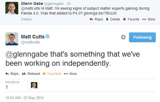 Matt Cutts Tweet About Subject Matter Expert Algorithm