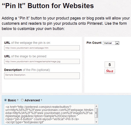 Pinterest Pin It Form