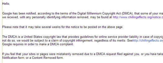 Example of DMCA Notice in Google Webmaster Tools