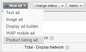 Adding a new product listing ad in Google Adwords.