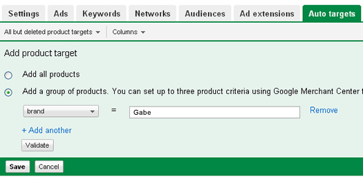Adding a product target in Google Adwords.