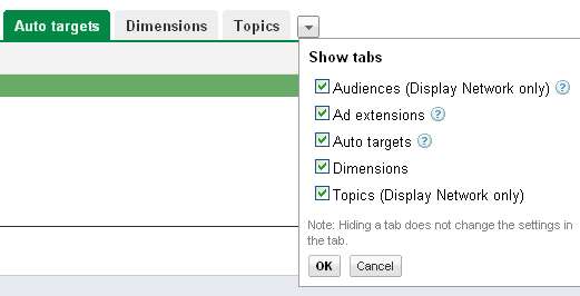 Accessing the Auto Targets Tab in Google Adwords.