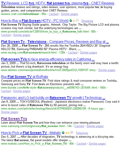 Google search rankings for flatscreen tvs.