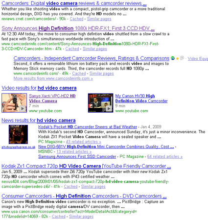 Google search rankings for hd video camera.