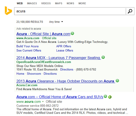 Search Results and Sitelinks for Acura