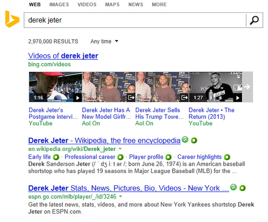 Bing Search Results for Derek Jeter