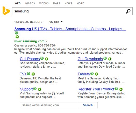 Search Results and Sitelinks for Samsung