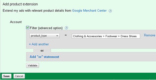Filtering a product extension in Google AdWords.