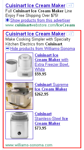 An example of a product extension in Google AdWords.