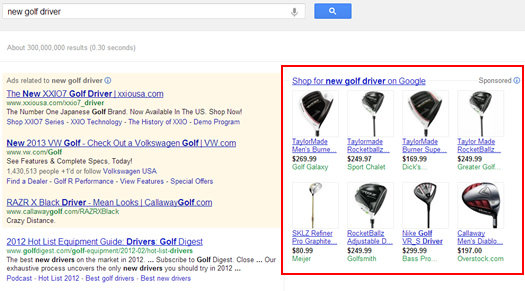 Product Listing Ads for Golf Drivers