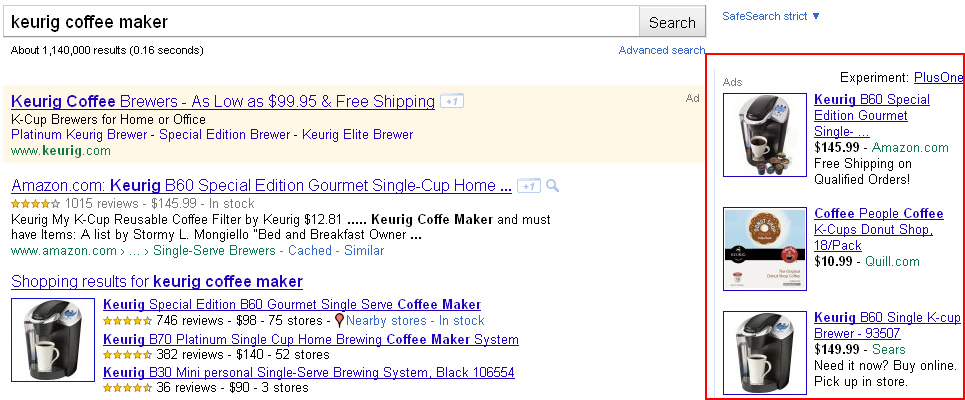 An example of a product listing ad in Google AdWords.