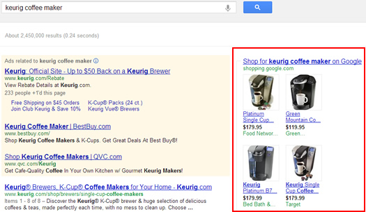 Product Listing Ads for Keurig Coffee Makers
