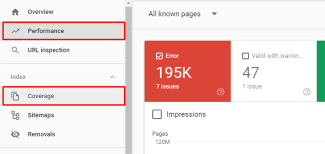 The Performance and Coverage reports in Google Search Console (GSC)