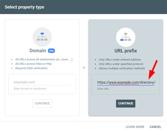 Adding a directory to Google Search Console (GSC) as a property