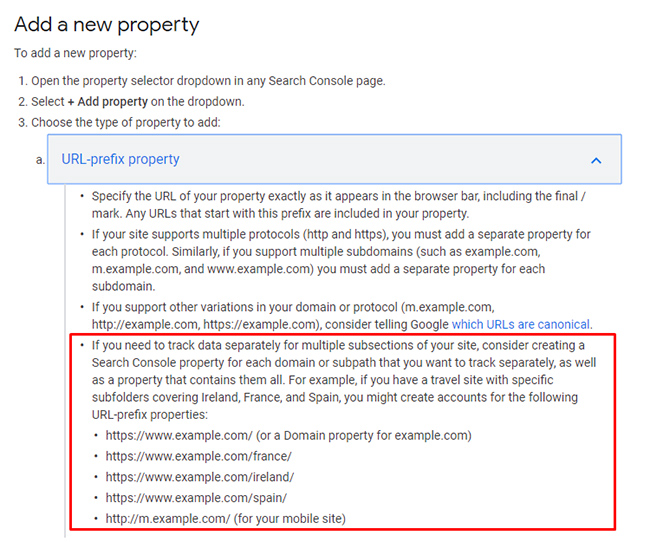 Google's documentation for adding directories as properties in Search Console (GSC)