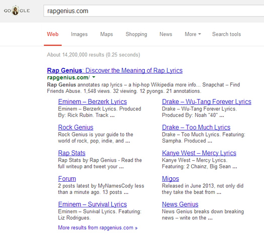 Rap Genius Branded Keywords