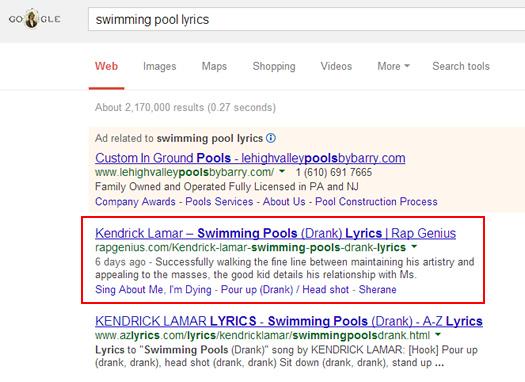 Rap Genius High Rankings for Lyrics Keywords