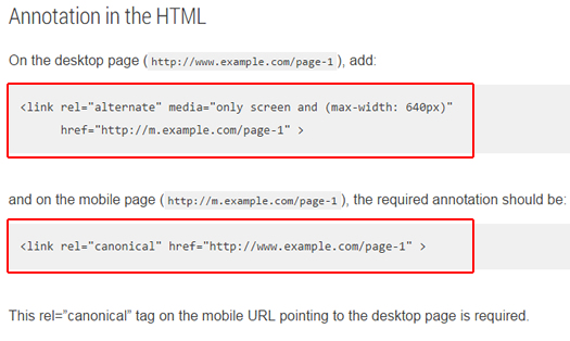 Not Using Rel Canonical With Mobile URLs