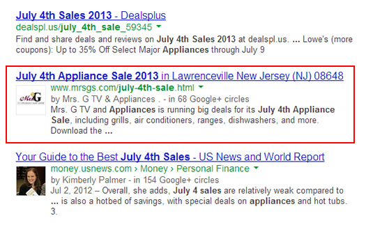 Publisher Markup in the Search Results