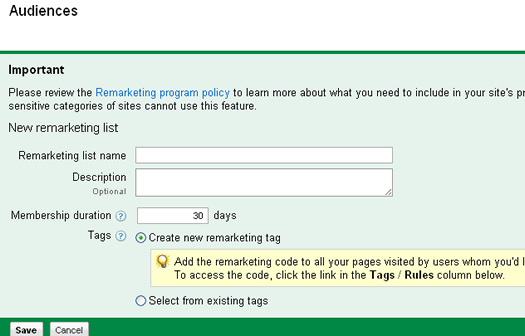 Adding details for a new remarketing list.