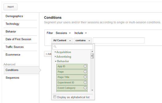 Using Conditions to Create Remarketing Lists in Google Analytics