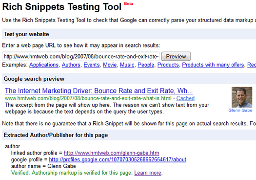 Using the Rich Snippets Testing Tool to view authorship markup.