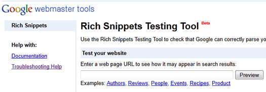 Google's Rich Snippets Testing Tool