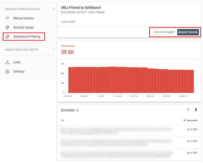 Mockup of SafeSearch reporting in Google Search Console (GSC).
