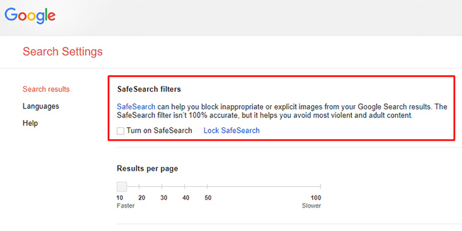 Google SafeSearch settings.