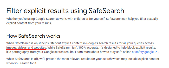 SafeSearch filters web, video, and image content.