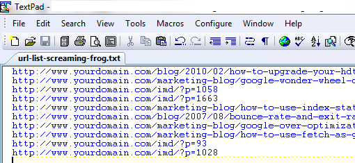 Copy the URL list to a text file