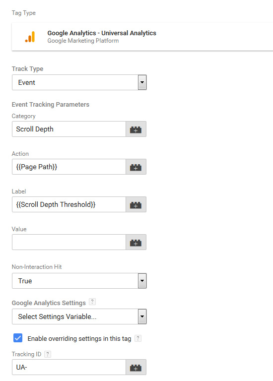Using Google Tag Manager to set up scroll depth tracking.